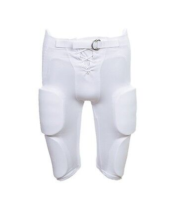 Martin YOUTH Football Practice / Game Pants with Integrated 7 Pc Pad Set, WHITE