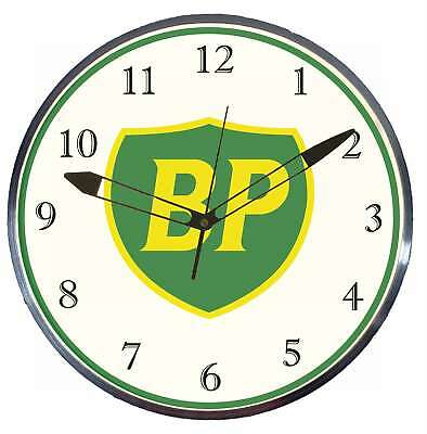"""BP Gas Oil 15"""" Retro Style Metal Pam Advertising Clock LED Lighted"""