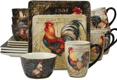 Certified International Colourful Rooster 16-piece Dinnerware Set for 4 NEW
