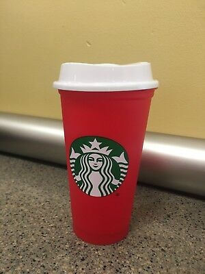 NEW! Starbucks - 2018 Holiday Red Reusable Coffee/Tea Travel Cup 16 oz. Gift