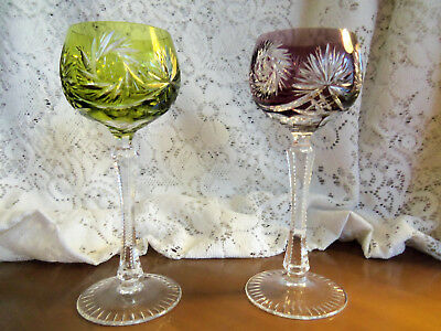 "Set of 2 Cut to Clear Crystal Wine Glasses 7-3/4"" ~ fans & pinwheels"