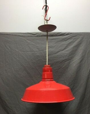 "Vintage Porcelain Hanging Pendant Gas Station Red Light Fixture 16"" 295-18C"