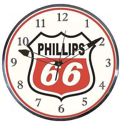 """Phillips 66 Gas Oil 15"""" Retro Style Metal Pam Advertising Clock LED Lighted"""