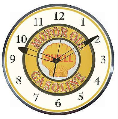 "Shell Motor Oil Gasoline 15"" Retro Style Pam Advertising Clock LED Backlighted"
