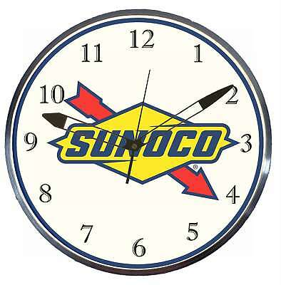 """Sunoco 15"""" Retro Style Pam Advertising Clock LED Backlighted Gas Oil"""