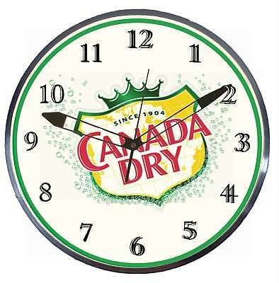 """Canada Dry Ginger Ale 15"""" Retro Style Metal Pam Advertising Clock LED Lighted"""