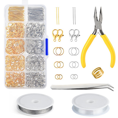 FEPITO Jewelry Making Kit Silver and Gold Lobster Clasps Open Jump Rings Pin...