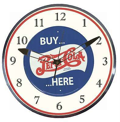 "Buy Pepsi Cola Here 15"" Retro Style Metal Pam Advertising Clock LED Lighted"