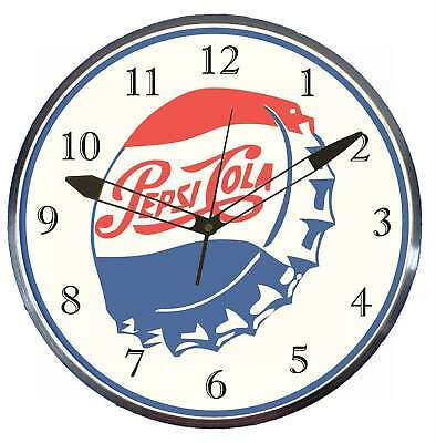 "Pepsi Cola Bottle Cap 15"" Retro Style Metal Pam Advertising Clock LED Lighted"