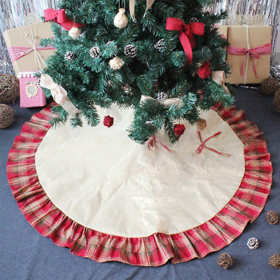 OWUDE 48 Inch Merry Christmas Tree Skirt Base Cover Linen Burlap Xmas with...
