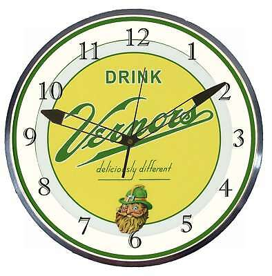 """Vernor's Ginger Ale 15"""" Retro Style Metal Pam Advertising Clock LED Lighted"""