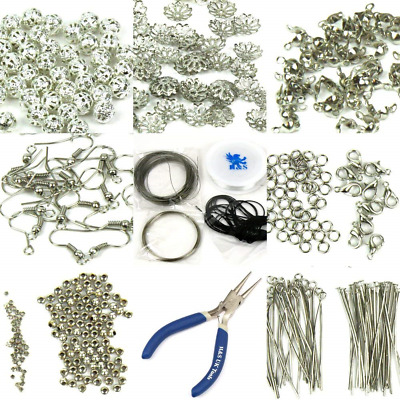 H&S® Findings Set Large Jewellery Making Kit Pliers Silver Beads Wire...