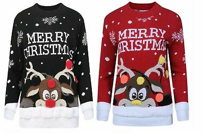 New Kids Childrens Girls Boys Xmas Christmas Pom Pom 3D Retro Jumper Sweater Top
