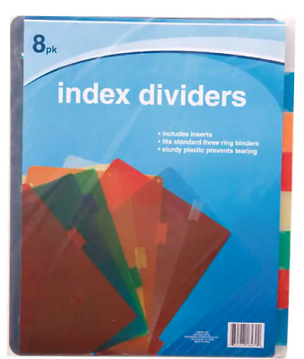 Jot PLASTIC Standard 3-Ring Binder Index Dividers with Tabs Mixed Colors~1 Pack