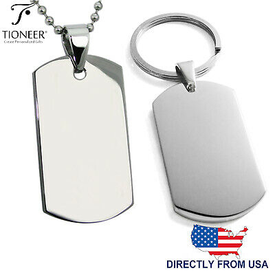 Stainless Steel Plain Dog Tag Pendant Accessory Keychain   FREE ENGRAVING