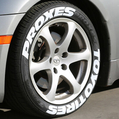 """TOYO TIRES PROXES - White Tire Lettering - 1.00"""" For 19""""  21"""" Wheels - Permanent"""