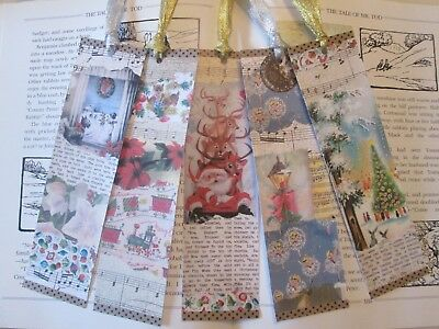 Vintage-Style Christmas bookmarks x 5