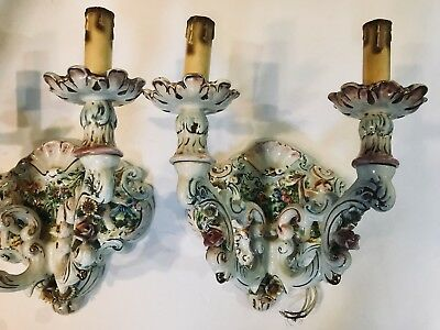 ANTIQUE Pair of Capodimonte Style Wall Lights Very Old ESTATE Sconces Side Light