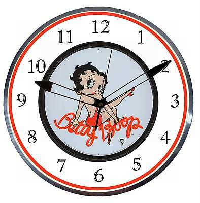 """Betty Boop 15"""" Retro Style Metal Pam Advertising Clock LED Back Lighted"""