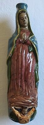 Vintage 1930s Mexican Pottery Virgin of Guadalupe Holy Water Bottle