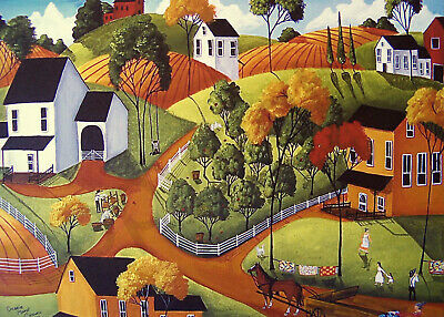 Quilt country farm folk barn Christmas gift art Criswell ACEO print of painting