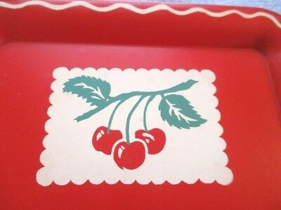 Mid Century Retro Vintage Cherries 1960s Red & White Kitchen Cherry Tole Tray