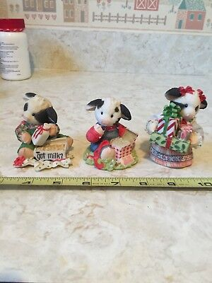 "3 Vintage Christmas Mary's Moo Moos ""Got Milk"", ""Cud Hardly Wait"" and ""Glad Tidi"