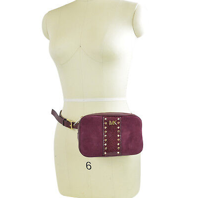 NWT Michael Kors Studded Fanny Pack Belt Bag  in Maroon/ Gold S/M