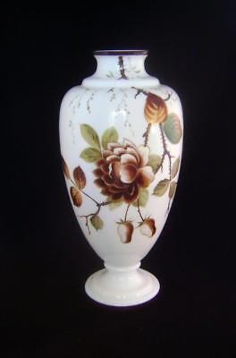 Victorian White Opaque Glass Vase with Fine Enamelled Flower Decoration.