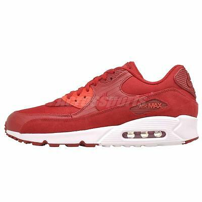 NIKE AIR MAX 90 Premium Mens Running Training Shoes Gym Red White ... 0eb8ff351