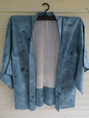 Fab Blue Leaf Patterned Vintage Japanese Silk Haori (Kimono Jacket)