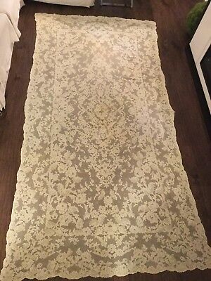 Spectacular Antique FRENCH ALENCON LACE BANQUET TABLECLOTH