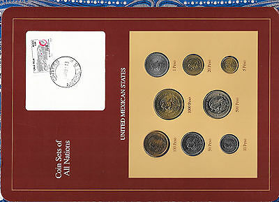 Coin Sets of All Nations Mexico with card 1987 - 1990 UNC Rare red 8 coin set