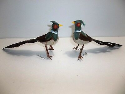 Vintage Pheasant Christmas Tree Ornament Set Of 2 Wire Feet Bird REAL FEATHERS