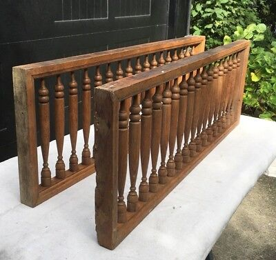 PAIR OF ANTIQUE OAK FRETWORK WITH TURNED WOOD-shipping is offered see comments