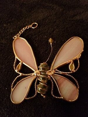 Stained Glass Pink Butterfly Window Sun Catcher Hanging Ornament