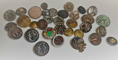Picture Buttons-antique buttons mixed lot
