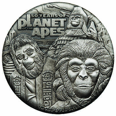 2018-P $2 Tuvalu 50 Years Planet of the Apes 2oz HR 9999 Silver Coin