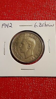 1942 Great Britain Two 2 Shillings silver coin