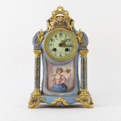 Antique Sevres Style Bronze Mounted, Cloisonné, Porcelain Mantel Clock.