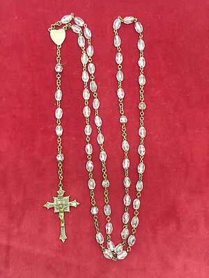 "Real Nice Old Antique Vintage Clear Glass Beads Capped Decades 22"" Rosary"