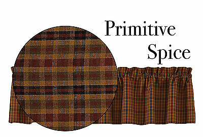 New Country rustic Homespun PRIMITIVE SPICE Plaid Wine Black Tan Curtain Valance