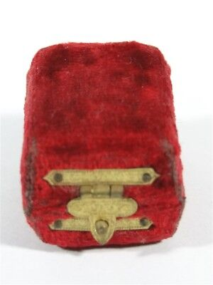 Rare Victorian Red Velvet THIMBLE CASE Holder Fancy Brass Clasp
