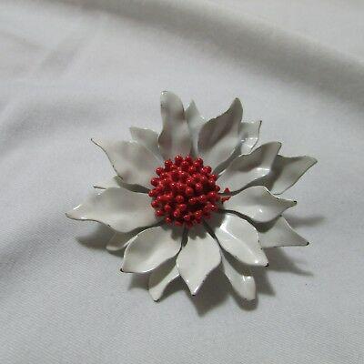 Super Cute Vintage White & Red Flower Power Metal Enamel Pin Brooch