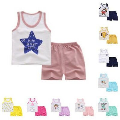 Cotton Baby Clothes New Summer Stylish Pattern Casual Sleeveless Vest Shorts Set