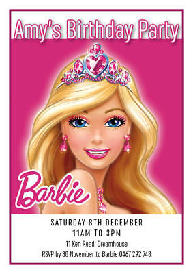 BARBIE Invitation Birthday Party Invite Mermaid Fairy Princess Personalised