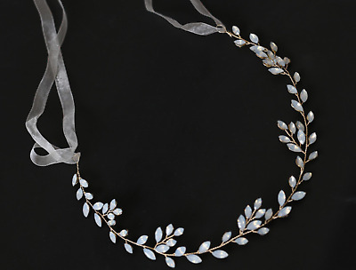 Soft Gold Vine Opal diamond wedding Bridal Bride hair accessories garland piece