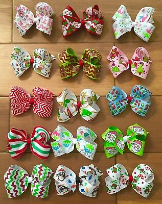 Lot Of 15 Large Boutique Christmas Hairbows Hair Bows