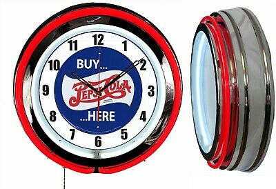 "PEPSI BUY HERE 19"" Double Neon Clock Red Neon Clock Mancave Garage Bar"