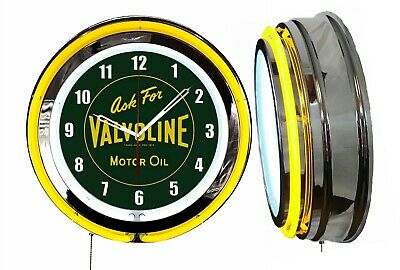 "Ask for Valvoline Motor Oil Vintage Logo Sign 19"" Double Neon Clock Yellow Neon"